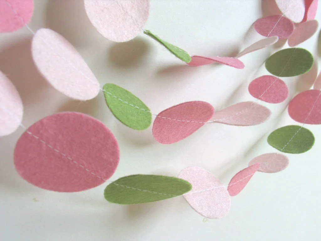 SPECIAL OFFER...3 x 10ft WATERMELON Felt Circle Garlands in Pink and Green -  Approx 30ft - Felt Streamer / Bunting/ Party Decor/ Home Decor - jellybeanstudio