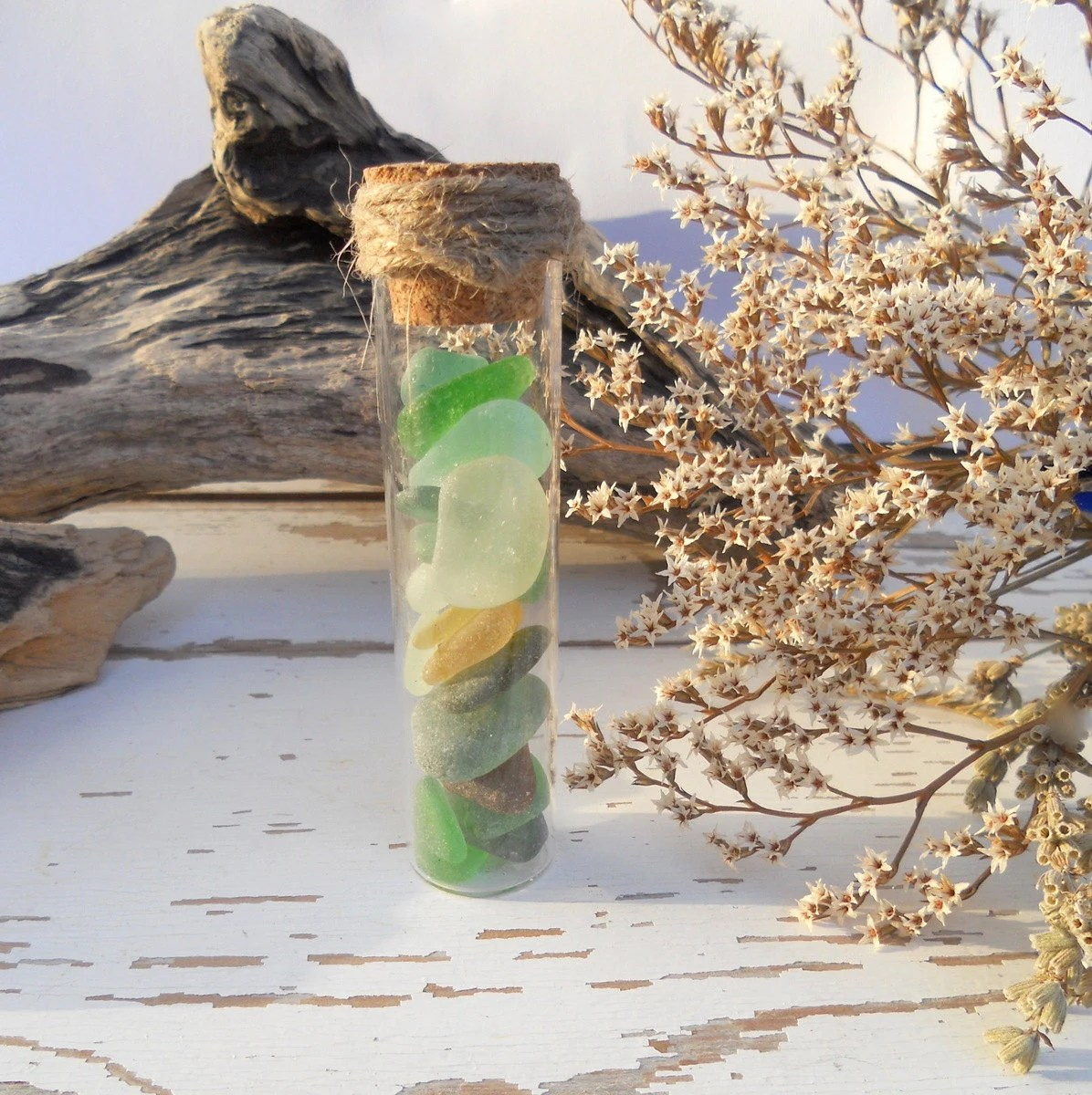 Green White Sea Glass Collection in glass tube Home Decor or Supplies