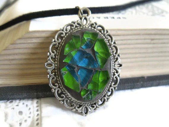 Green & Blue Glass Pendant - Mosaic