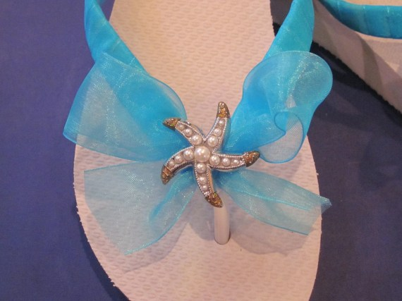 PEARL STARFISH Flip Flops/Wedges for Bride.Maid of Honor,Bridesmaids,Flower Girl. - rocktheflops