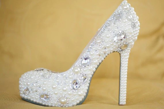 Bridal Shoes with Pearls and Rhinestones - goldsole