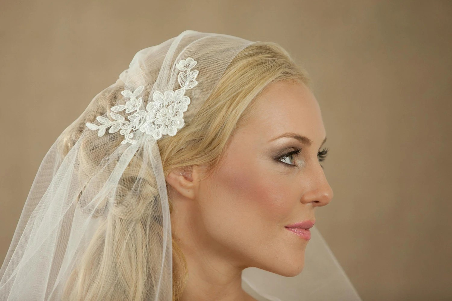 NEW 34 Inch Rosa Lace Bridal Cap Wedding Veil
