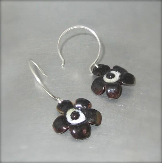 Enameled Black and White Flower Earrings - By Beth Millner
