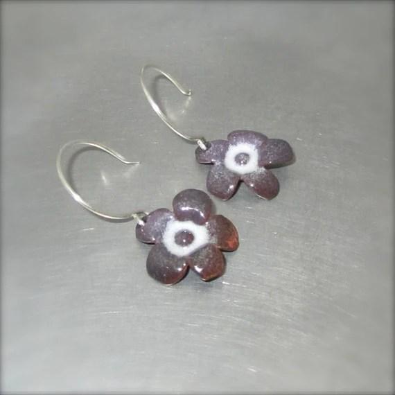 Enameled Purple and White Flower Earrings - By Beth Millner