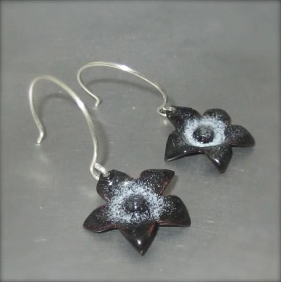 Enameled Black Starflower Earrings - By Beth Millner