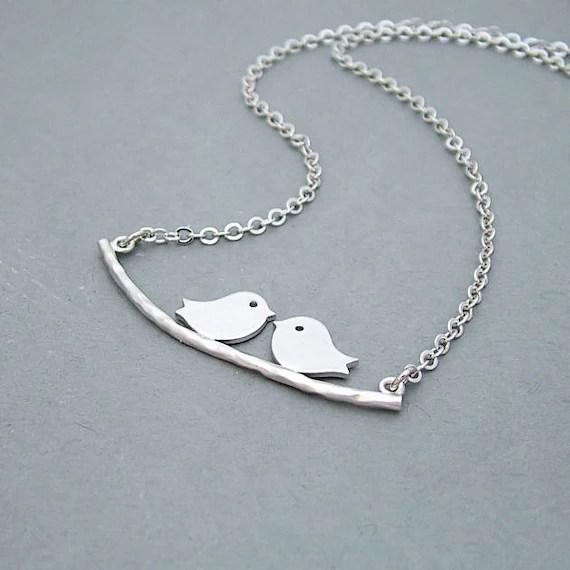 Birds on a Branch Necklace, Kissing Bird Necklace, Love Birds Necklace