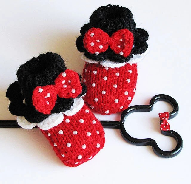 "Baby booties "" Minnie's Red  Booties"""