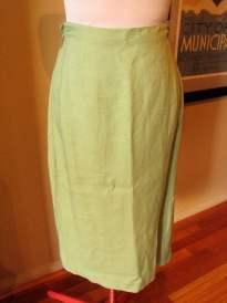 Vintage Late 1940s Spearmint Green Linen Skirt