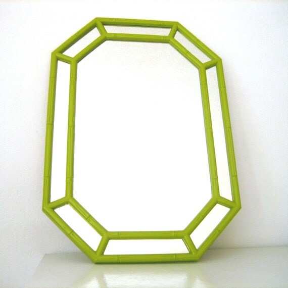 Vintage Green Faux Bamboo Framed Mirror