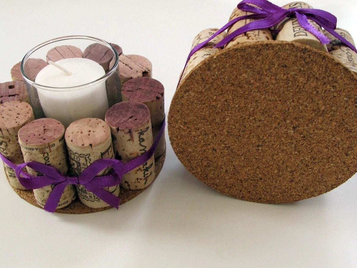 Set of Two Wine Cork Votive Holders with Purple Ribbon