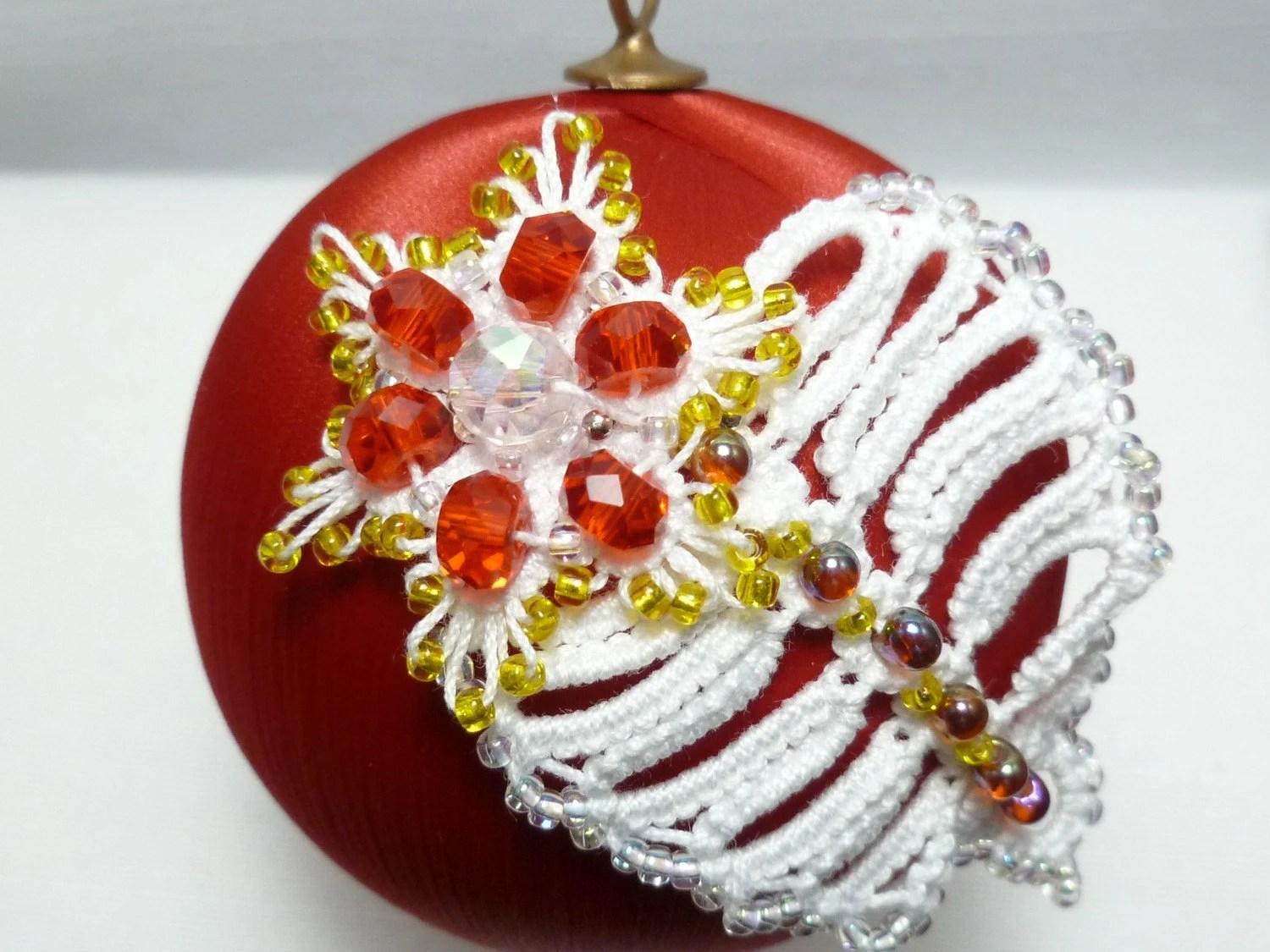 Tatted Christmas Ornament -Leaf and Blossom on a Satin Ball -Snowball No.10