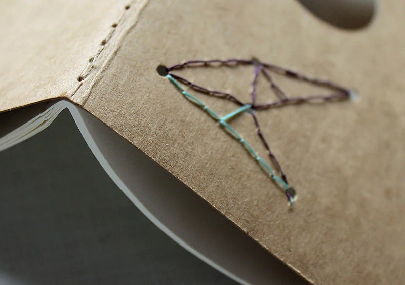 Moleskine cahier hand-stitched star constellation - Full Moon