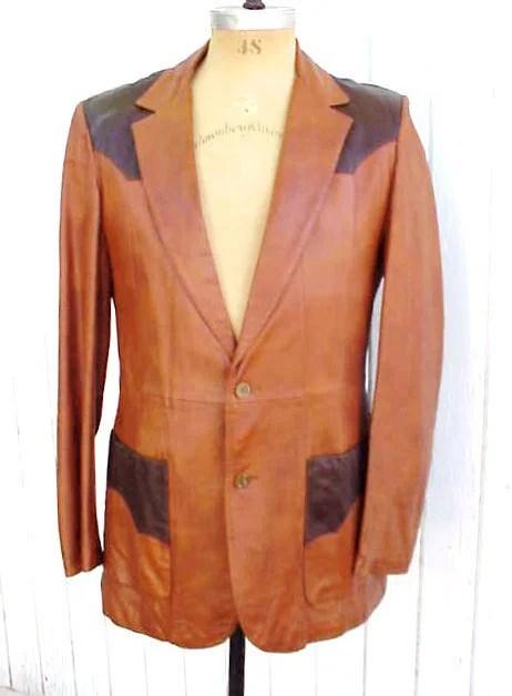 Roundtree Two-Tone Leather Western Blazer