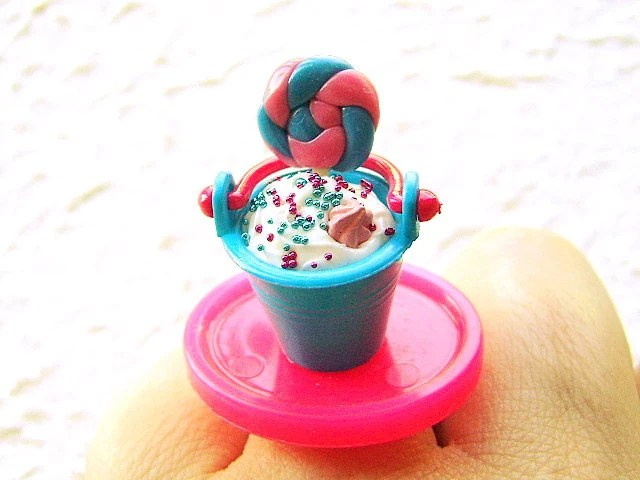 Ice Cream Lollipop in Bucket - Miniature Food Ring at Etsy