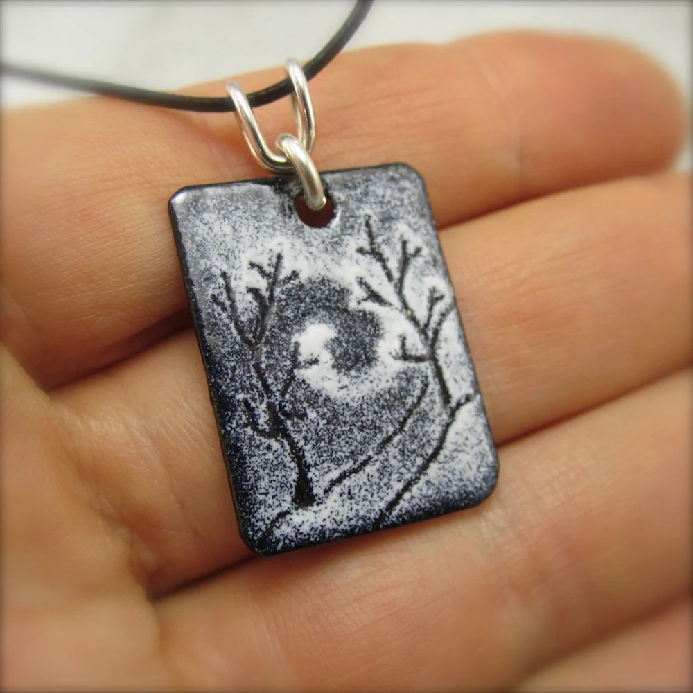 Enameled Tandem Blizzard Tree Pendant by Beth Millner