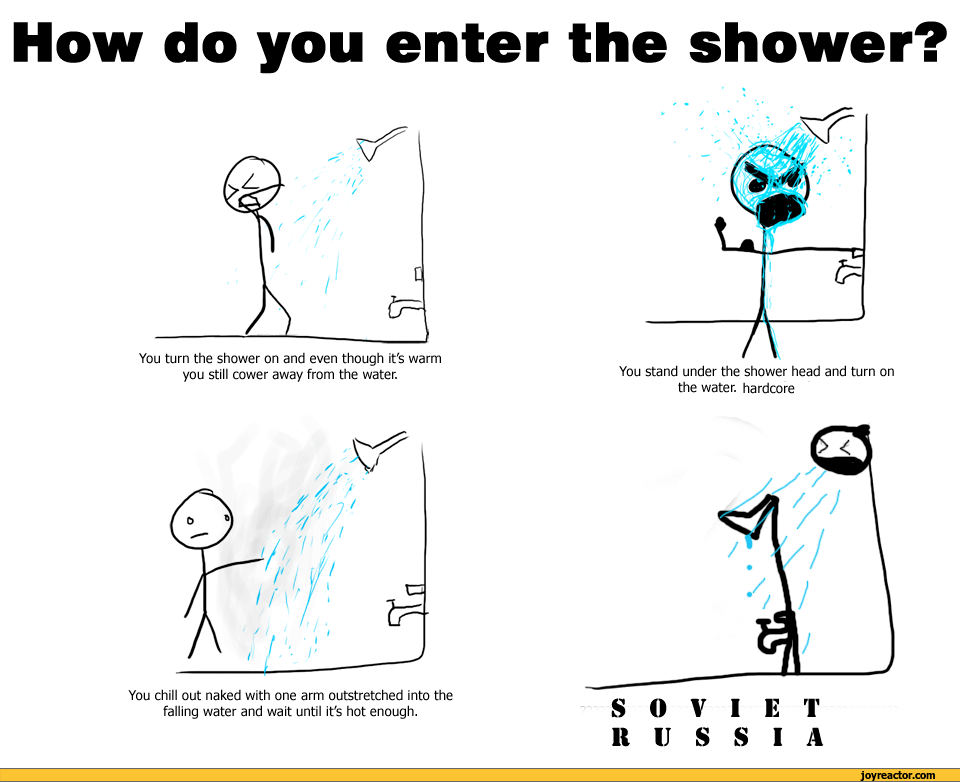 How do you enter the shower?You turn the shower on and
