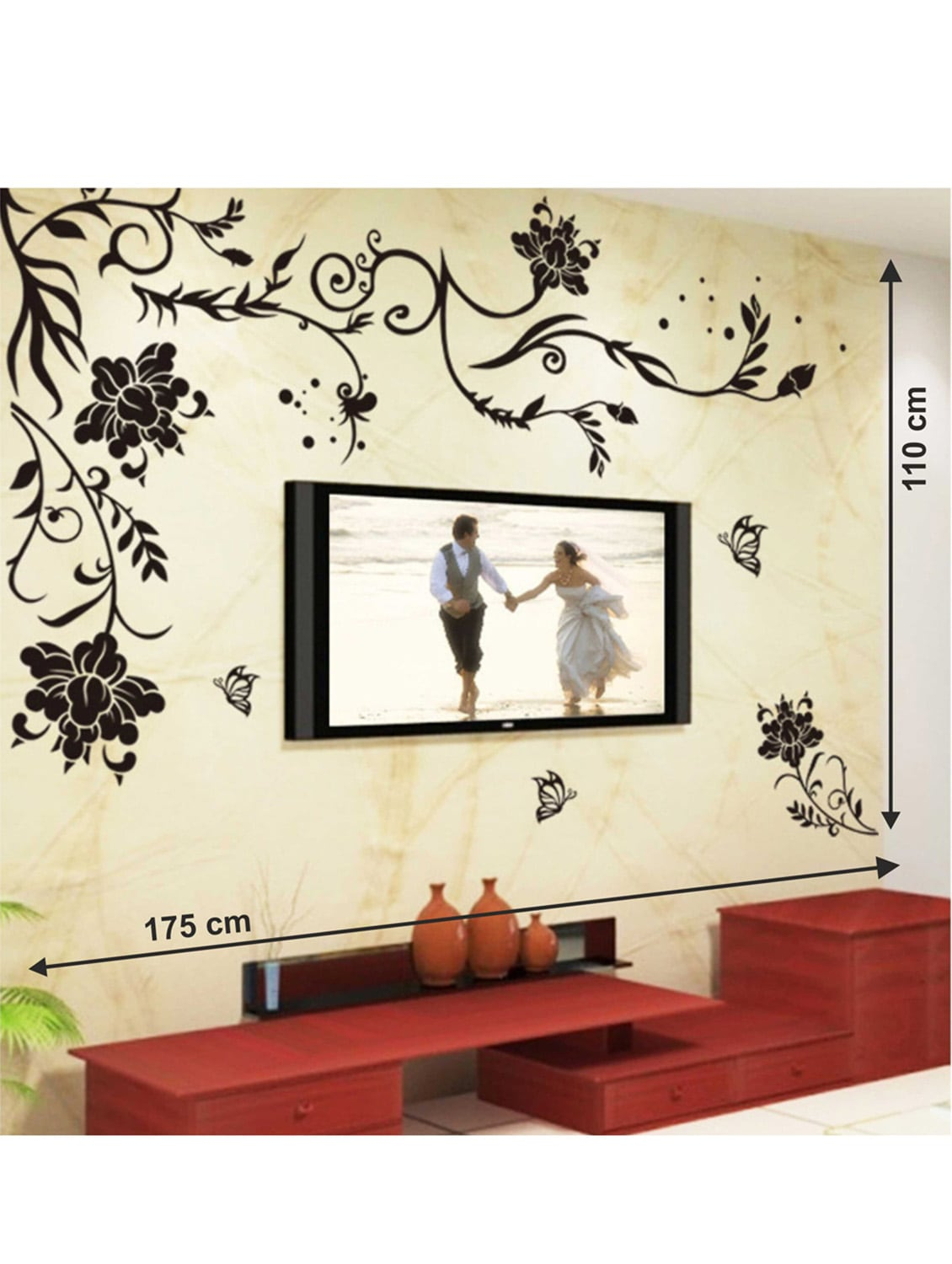 large wall stickers for living room india curtain ideas with blinds buy black size floral vine butterflies corner sofa tv background decal by stikerskart online shopping decals