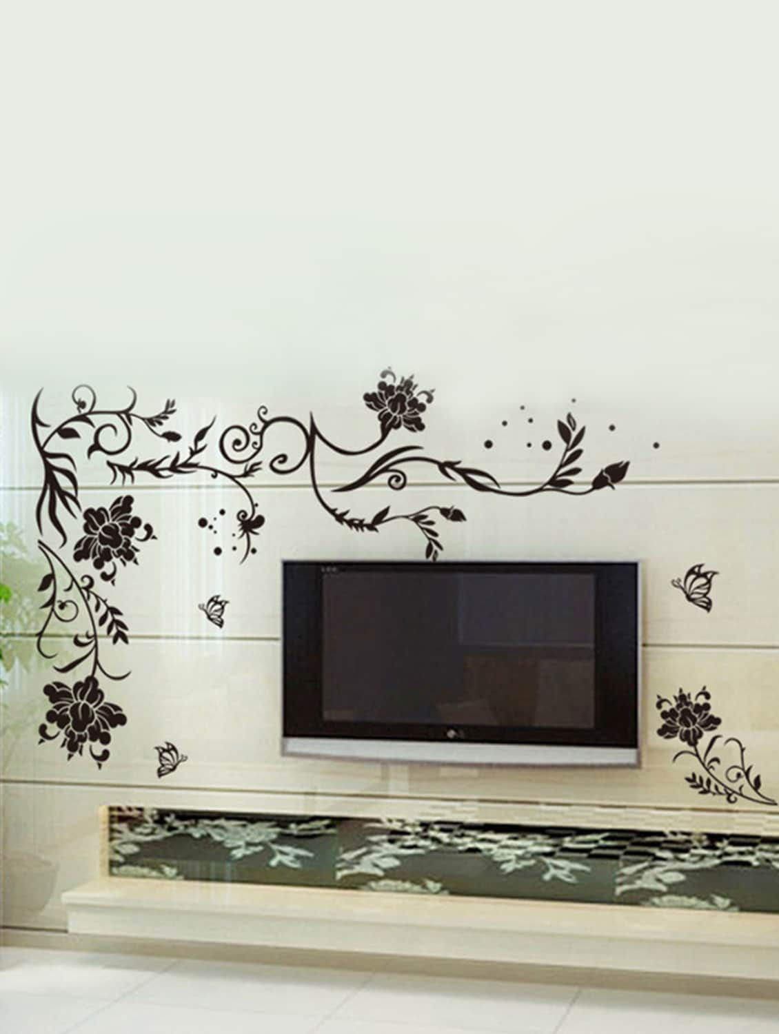 large wall stickers for living room india help to decorate my buy black size floral vine butterflies corner sofa tv background decal by stikerskart online shopping decals