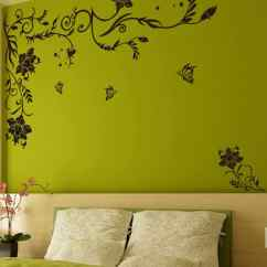 Large Wall Stickers For Living Room India Sitting Chairs Buy Black Size Floral Vine Butterflies Corner Sofa Tv Background Decal By Stikerskart Online Shopping Decals
