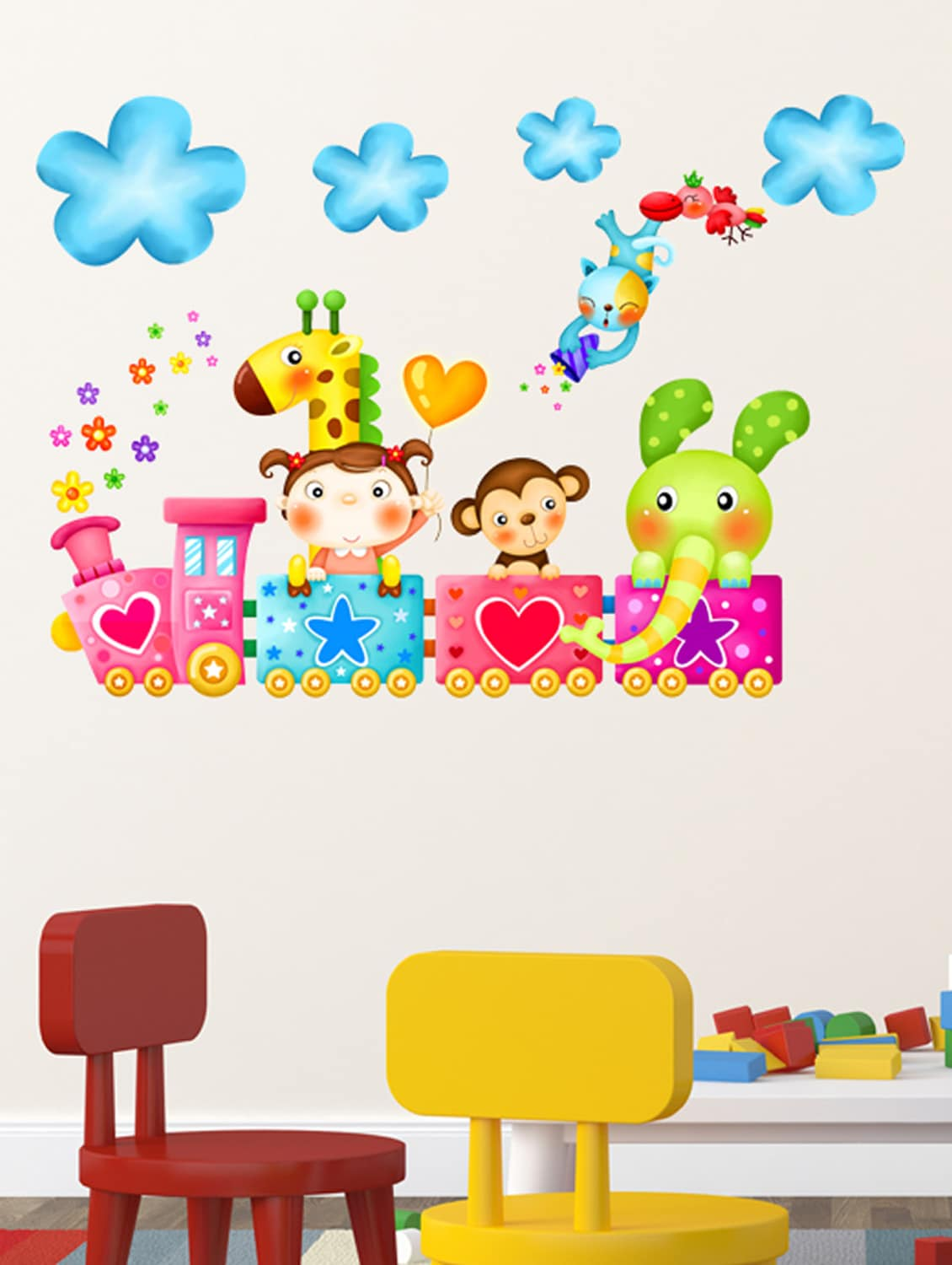 Buy Wall Stickers Kids Room Train Happy Cartoon Animals With Clouds