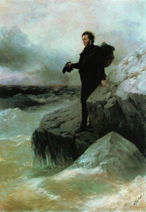 Ilja Repin, Iwan Aiwasowski, Puschkins Abschied vom Meer, 1877