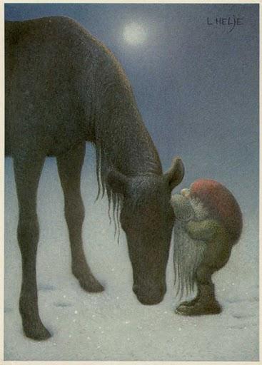 De tomte heeft een band met de dieren, zoals in deze afbeelding van Lennart Helje.