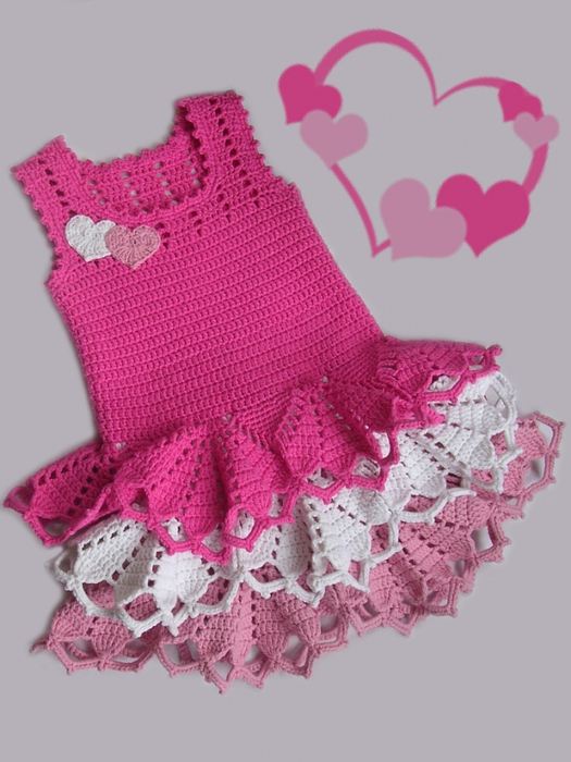 Free #Crochet Pattern - Valentine's Ruffle Dress