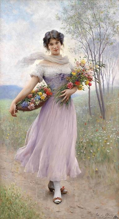 Girl in a Lilac Dress, Eugene de Blaas (382x700, 187Kb)