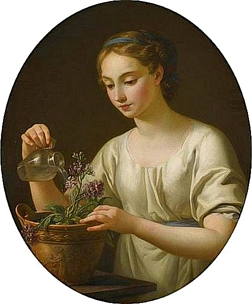 Joseph Marie Vien (French painter, 1716 - 1809) Young Woman Watering a Pot of Flowers 1763 (502x605, 204Kb)