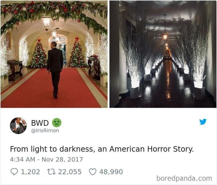 В сети появились стремные мемы на тему украшений Белого дома от Мелании Трамп