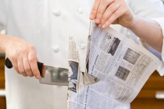 Как заточить нож обычной газетой по японскому методу