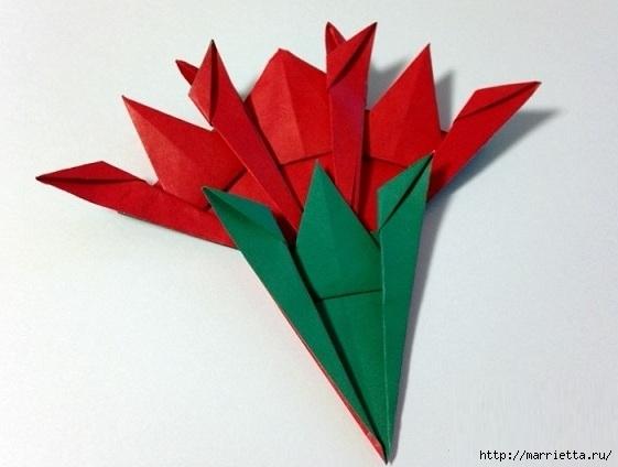 Букет гвоздик из бумаги в технике оригами (3) (561x424, 107Kb)
