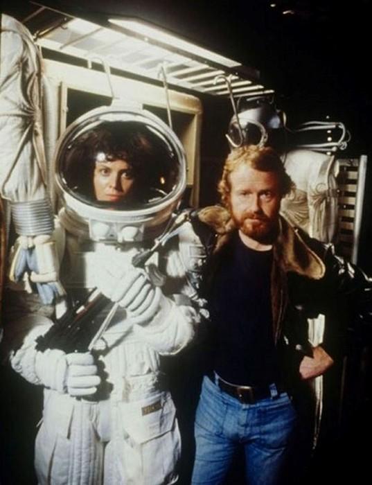 Сигурни Уивер и Ридли Скотт на съемках фильма «Чужой». 1978 год