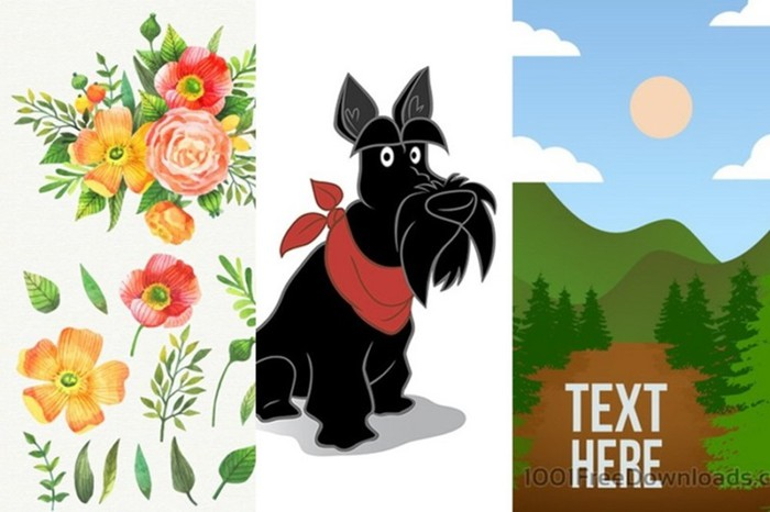 Бесплатные векторные картинки на тему природы: цветы, животные, ландшафты и другое
