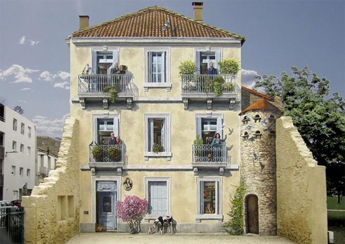 Художник превращает скучные фасады в яркие сценки, полные жизни