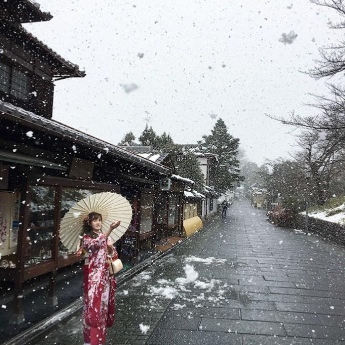 Красивые фотографии Киото в снегу