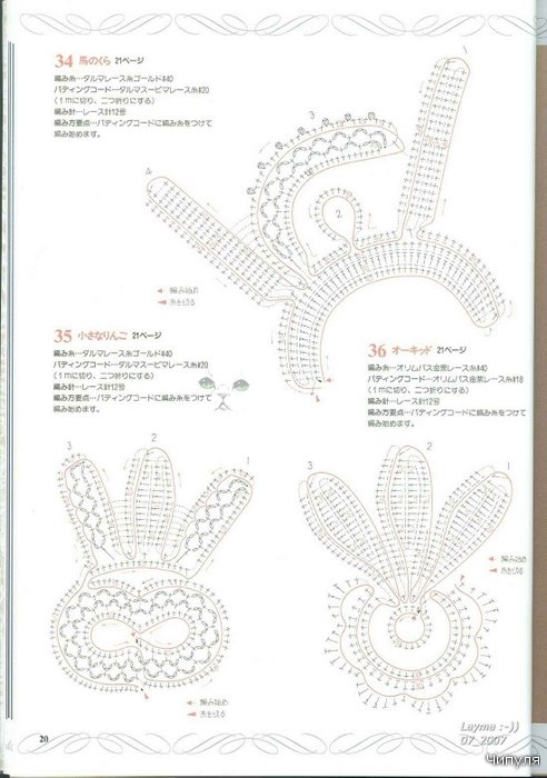 128 Irish crochet motifs (Japanese) ~ Craft , handmade blog