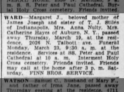 Margaret Ward obituary Indianapolis Star 21 Mar 1936 p21c8