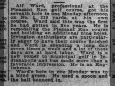 Alf Ward, Pleasant Run, 7 hour days, Englishman, The Indianapolis News, 7 Aug 1923, p 20.