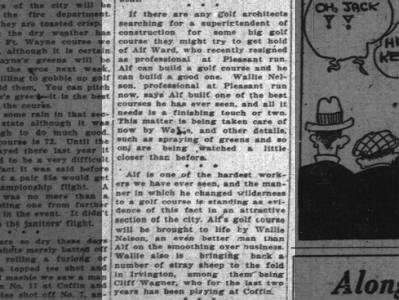 Alf Ward Resigns as club professional Pleasant Run 3 Jun 1925