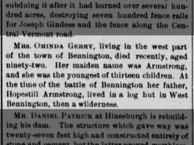 Mrs Ominda Armstrong Gerry dies, Vermont Watchman 22 Sep 1880