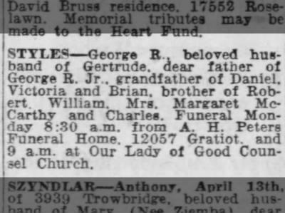 George R Styles obituary, Detroit Free Press, 15 Apr 1956