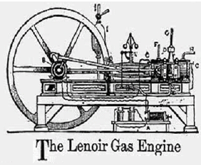 Lenoir Patents First Internal Combustion Two-Stroke Engine