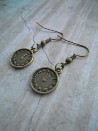Clock face bronze dangling earrings, charm earrings ...