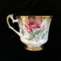 Elizabethan Tea Cup and Saucer, Pink and Gold Floral ...