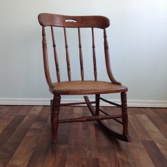 Rocking Chair Height Stool Small 19th Century Cane Seat Rocker