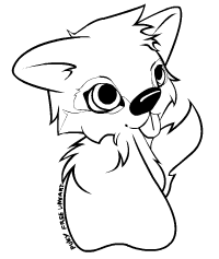 Chibi cute wolf free lineart by Baskerville-Hound on