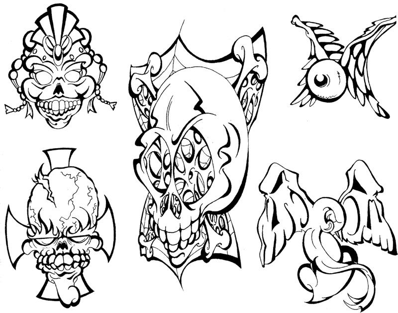 Skulls and Mo Tattoo Flash by BeeJayDeL on DeviantArt