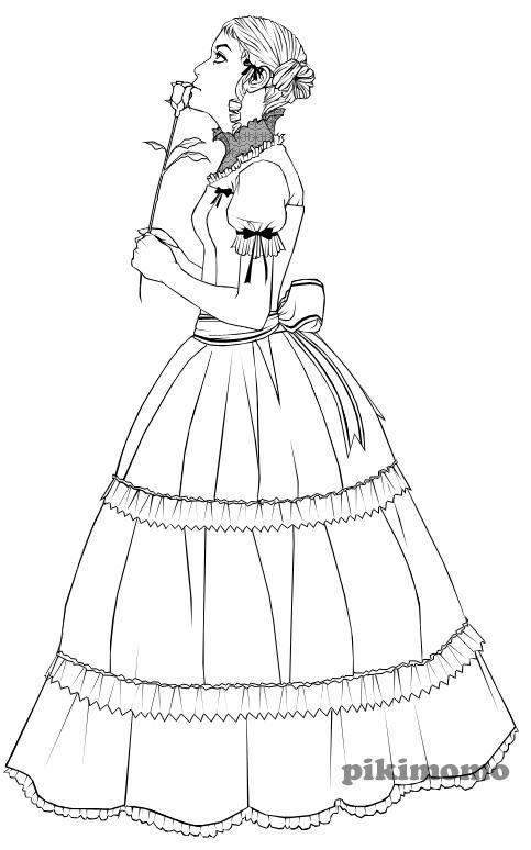 gothic lolita lineart by pikimomo on DeviantArt