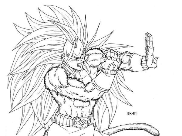 Goku Ssj4 Lineart By Bk81 On Deviantart Dragon Ball Z T
